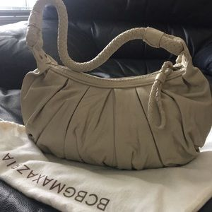 BCBG cream leather ruched small shoulder bag